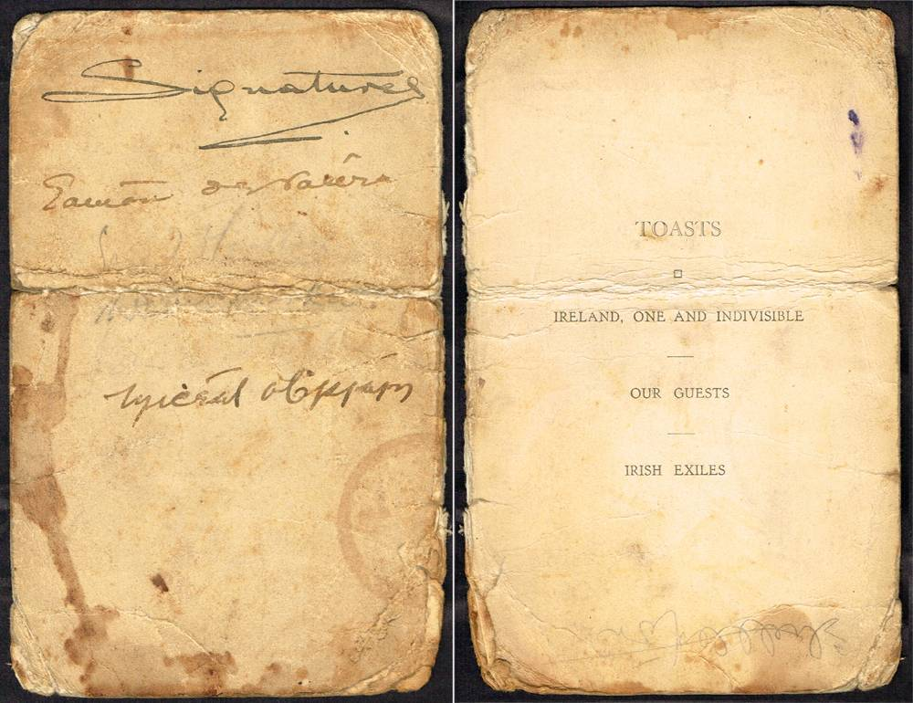 Michael Collins and Eamonn de Valera, autograph signatures. at Whyte's Auctions