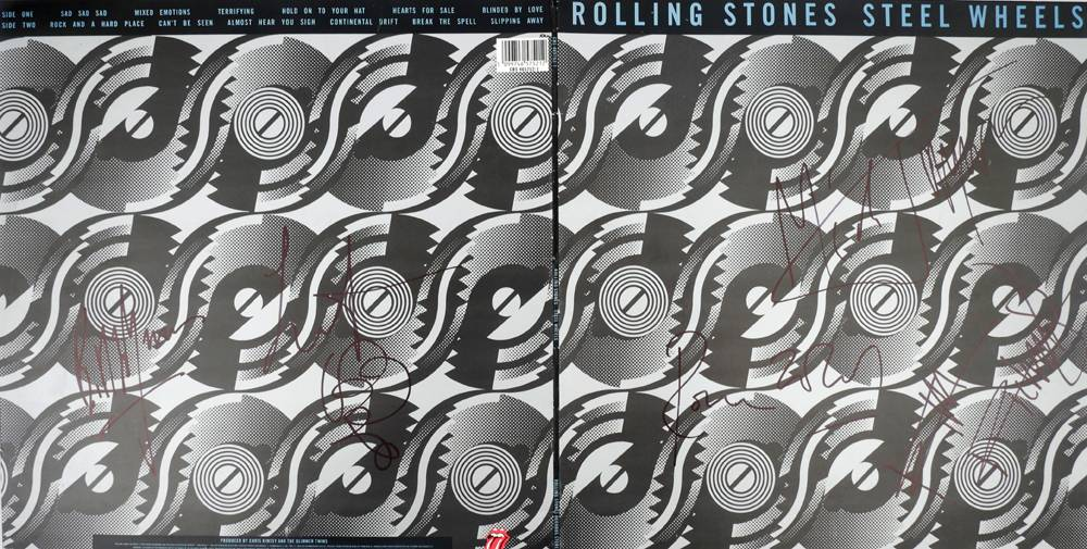 Rolling Stones, Steel Wheels, signed album cover and tour