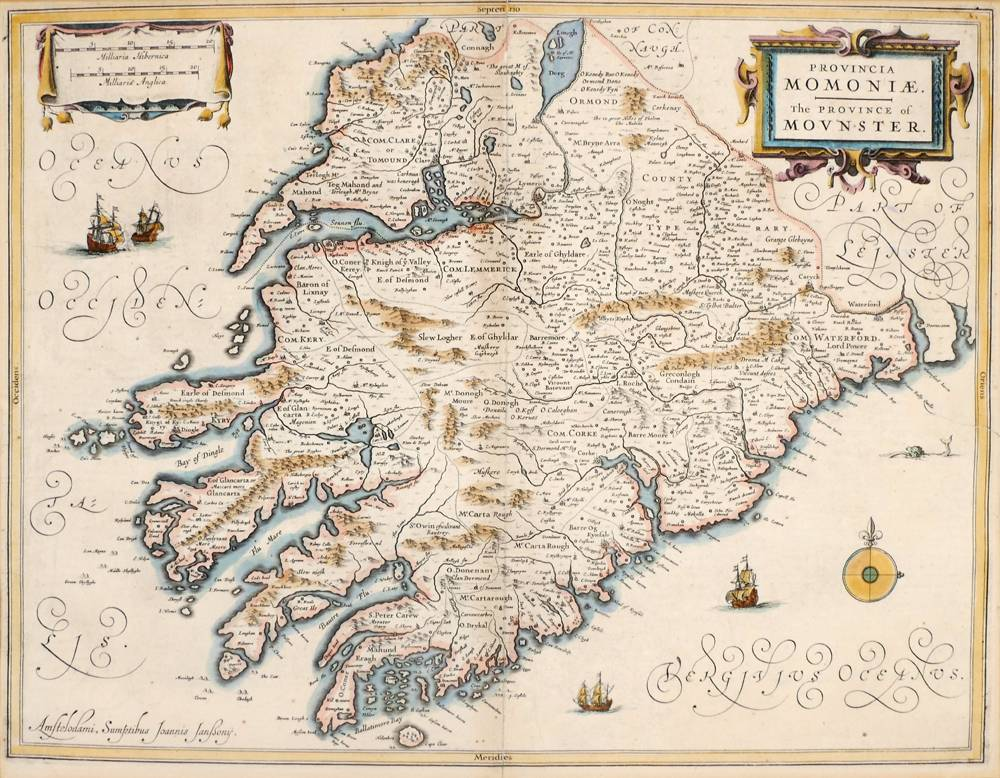 17th century Map of Munster by Joannes Jansson at Whytes Auctions