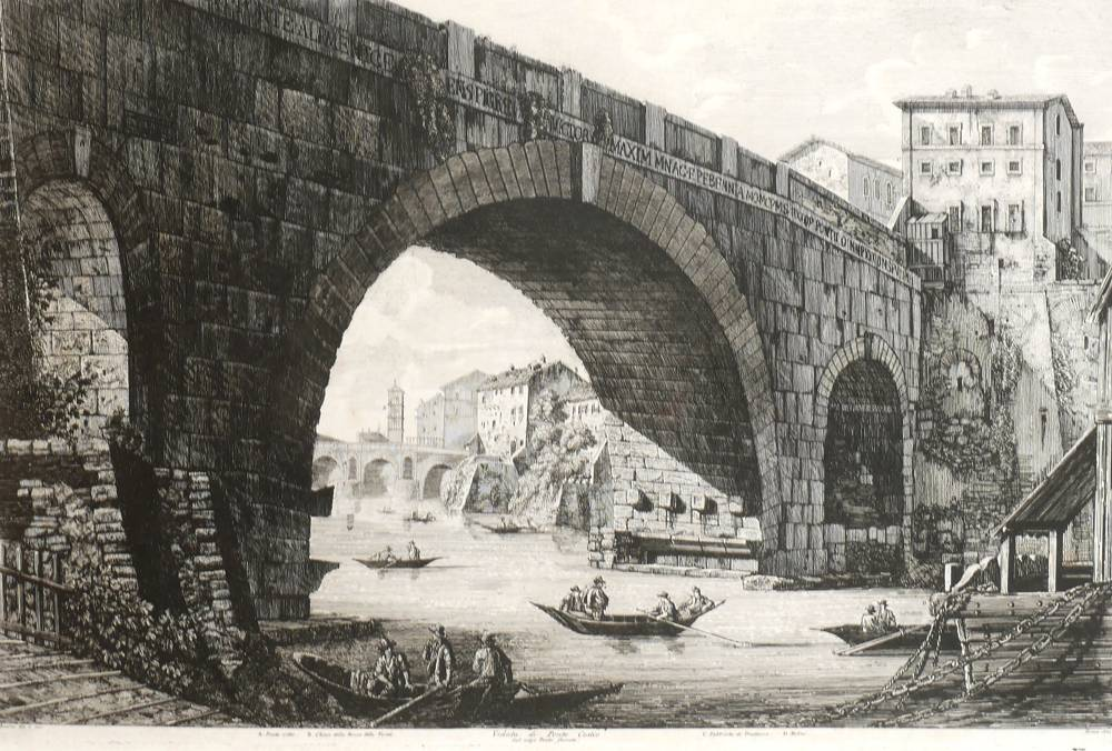 Pair of 18th century etchings of Classical Roman views. at Whyte's Auctions