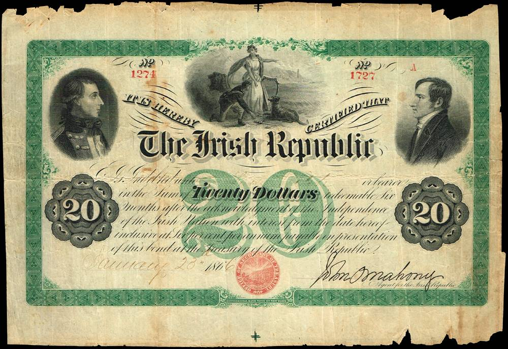 1866-67 Irish Republic Twenty Dollars 'Fenian Bond'. at Whyte's Auctions