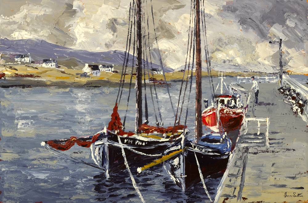 GALWAY HOOKERS, KILKIERAN PIER, COUNTY GALWAY by Ivan Sutton (b.1944) at Whyte's Auctions