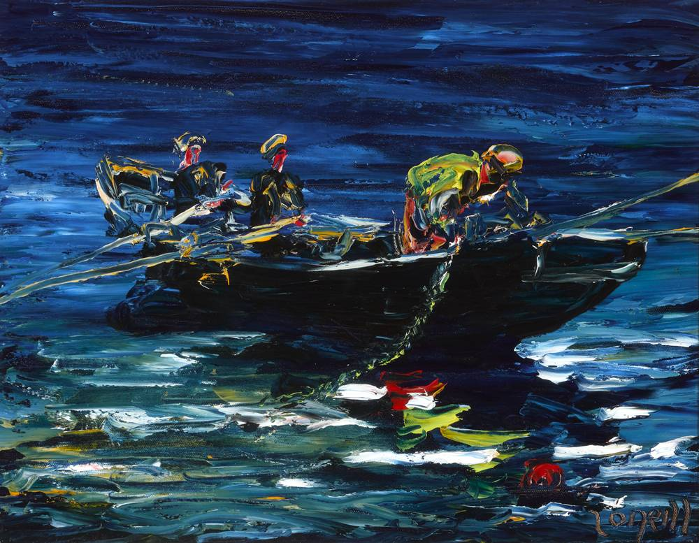 THREE MEN IN A BOAT by Liam O'Neill (b.1954) at Whyte's Auctions