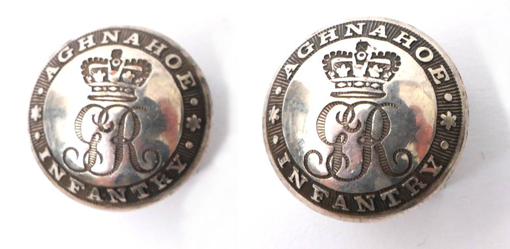 Circa 1780, Aghnahoe Infantry buttons. at Whyte's Auctions