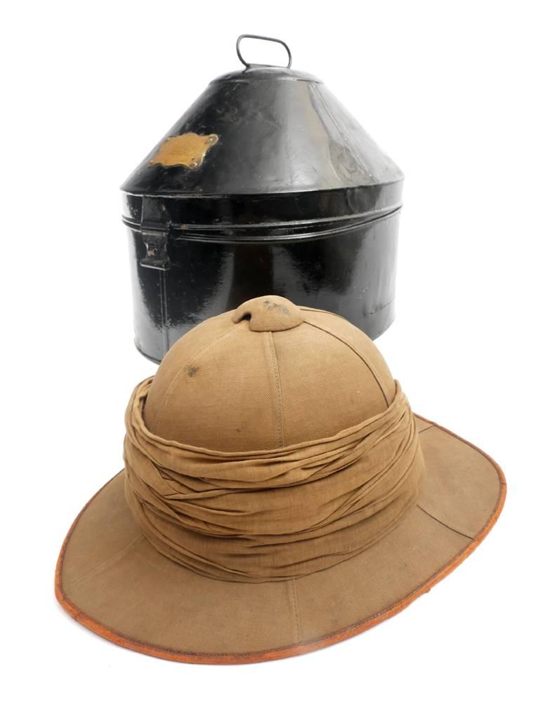 71304ef0029dc Royal Dublin Fusiliers helmet case and a Wolseley-pattern sun helmet ...