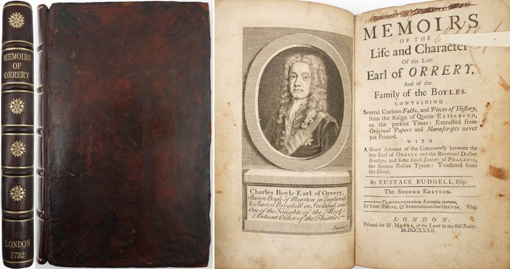 Budgell, Eustace. Memoirs of the Life and Character of the late Earl of Orrery, and of the Family of the Boyles. at Whyte's Auctions