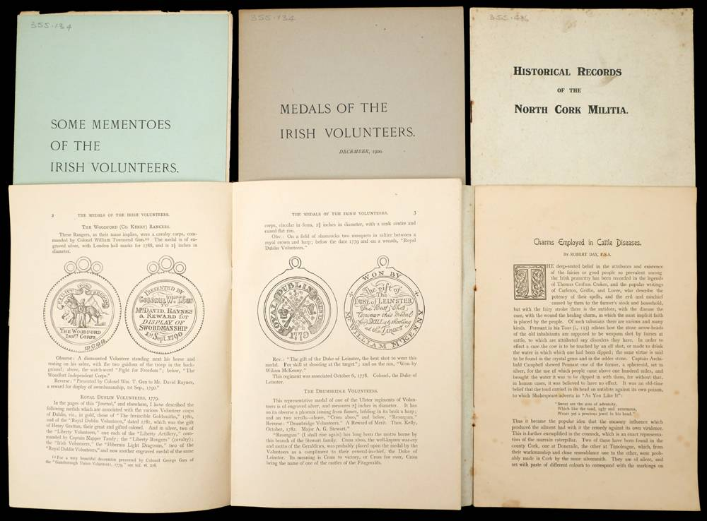 Irish Volunteers: Five historical pamphlets by Robert Day FSA, VPRSA. at Whyte's Auctions