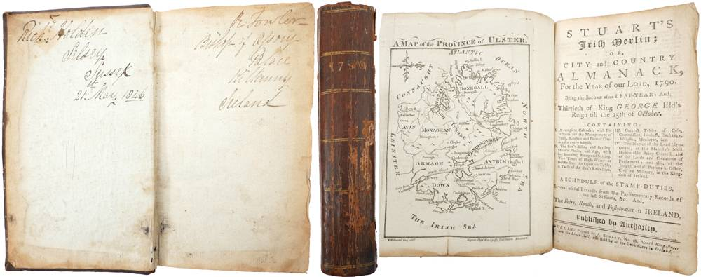 1790. Three Irish Almanacks bound as one volume. Ex-Libris Robert Fowler, Bishop of Ossory. at Whyte's Auctions