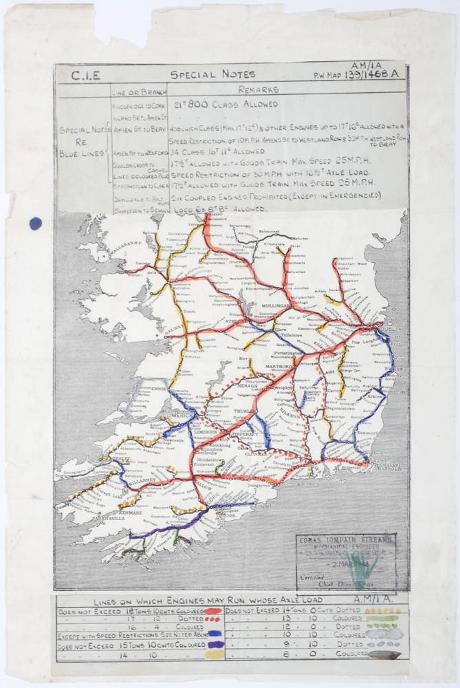 Rail Map Of Ireland.1948 March 2 Railway Axle Weight Map Of Ireland At Whyte S