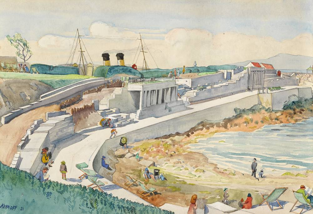 SUN TERRACE, D�N LAOGHAIRE PIER, 1931 by Harry Kernoff RHA (1900-1974) at Whyte's Auctions