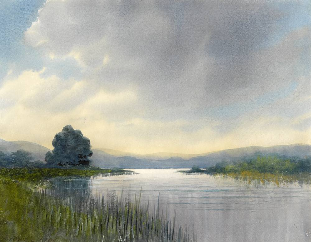 BREAKING CLOUDS ABOVE A LAKE, 1906 by William Percy French (1854-1920) at Whyte's Auctions