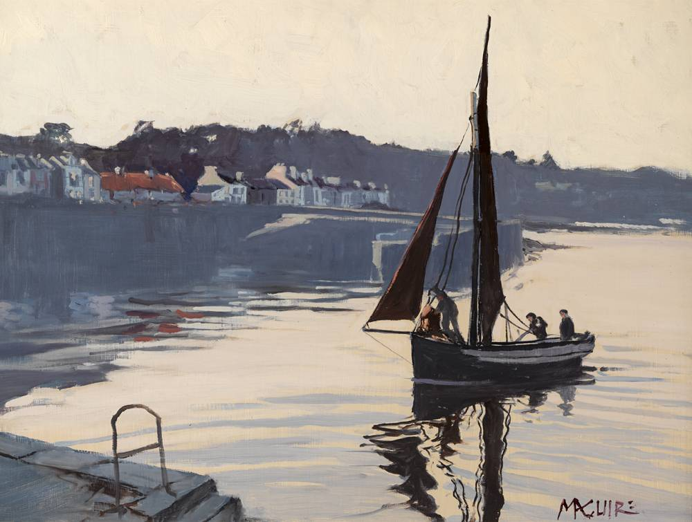 EVENING, OLD QUAY, ROUNDSTONE by Cecil Maguire RHA RUA (b.1930) at Whyte's Auctions