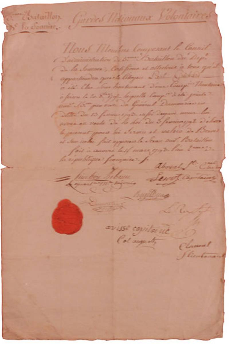 1793 (13 February) French Revolution volunteer commission document at Whyte's Auctions
