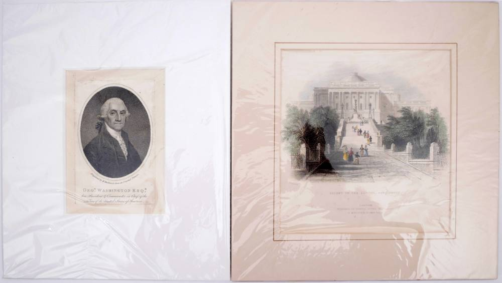 1798-1840s Portrait of George Washington and views of Washington DC and environs by Bartlett. at Whyte's Auctions