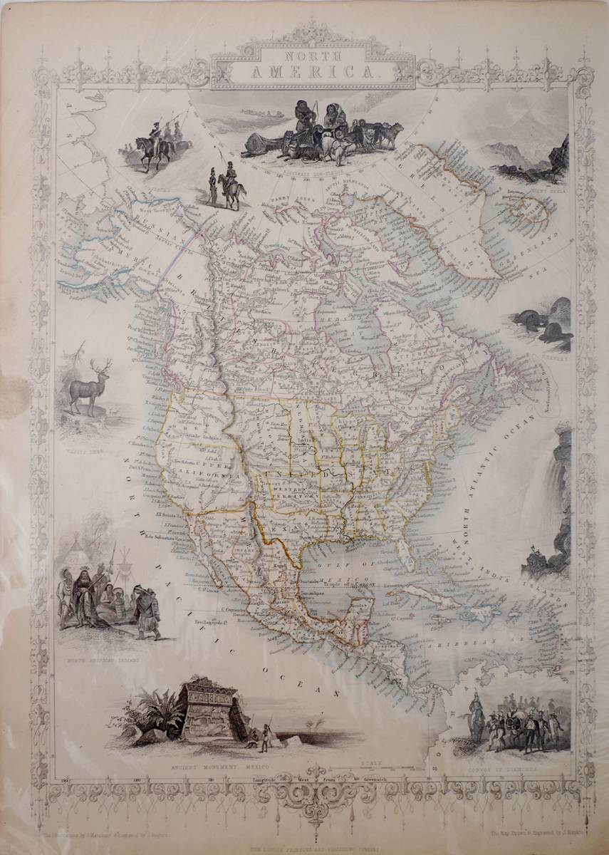Circa 1855 Illustrated Maps Of North America The United States And