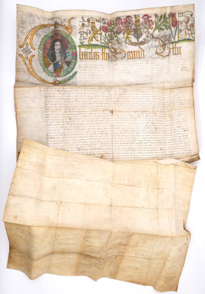 1666 Letters Patent of Charles II granting lands in Ballybritt in the King's County to Warner Westenra, Merchant of the City of Dublin. at Whyte's Auctions
