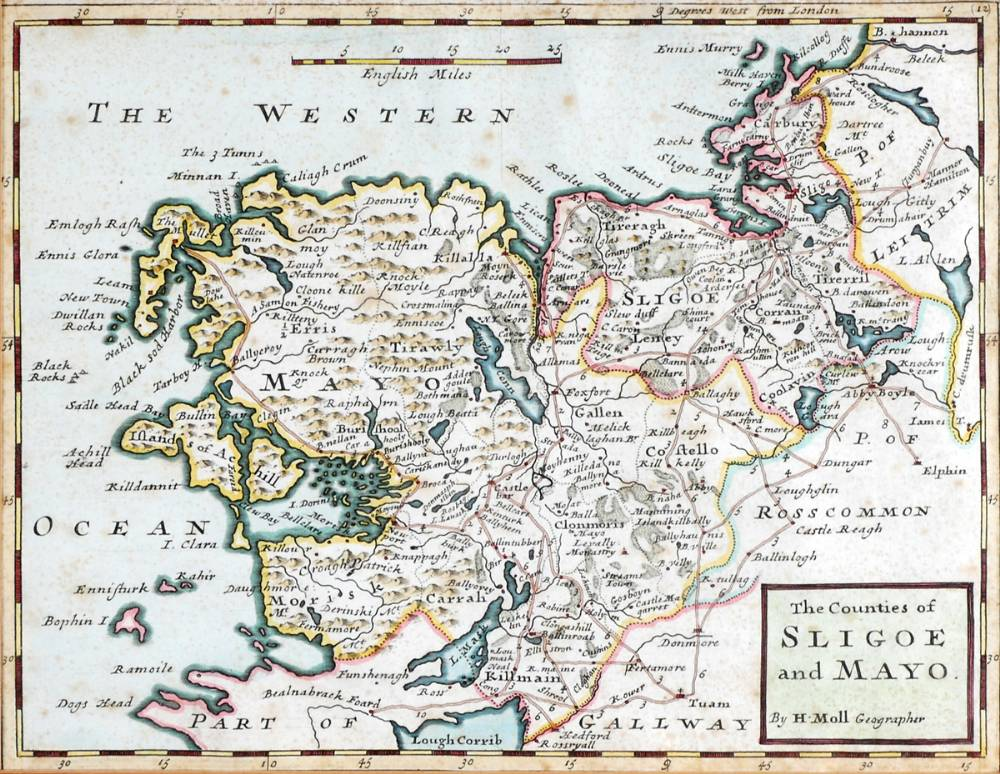 Map Of Ireland Mayo.1689 Map Of Ireland By William Berry And A Map Of Sligo And Mayo By
