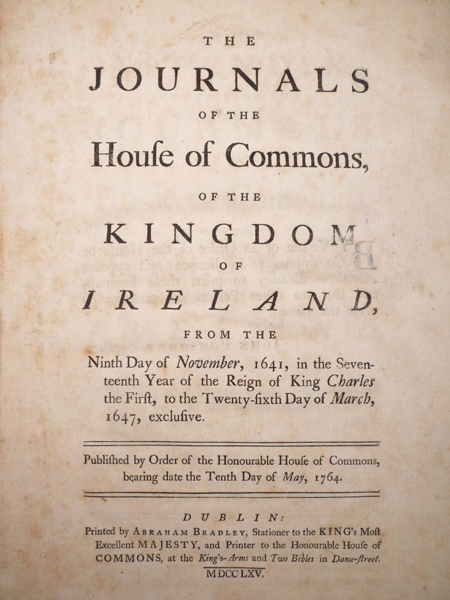 1641-1647 Journals of the House of Commons of the Kingdom of Ireland at Whyte's Auctions