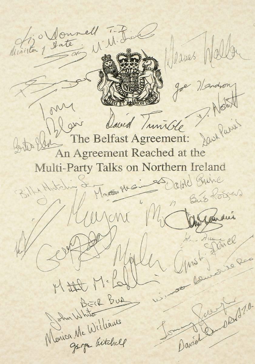 1998 (10 April) Good Friday Agreement facsimile signature sheet ...