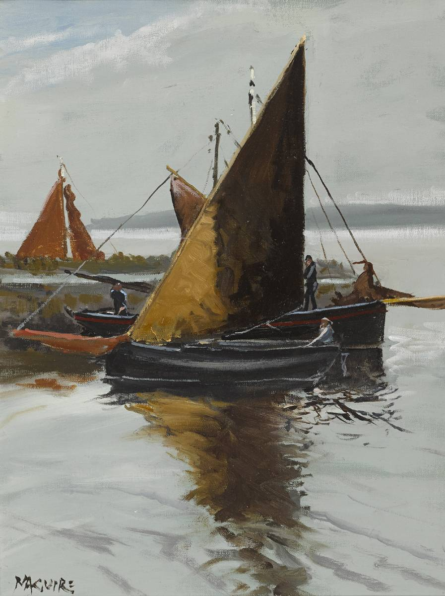 P�C�N, GAFF RIGGED, KINVARA, COUNTY GALWAY by Cecil Maguire RHA RUA (b.1930) at Whyte's Auctions