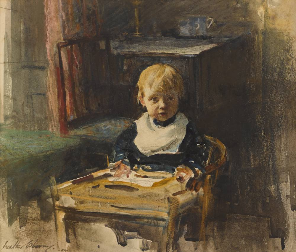 THE HIGH CHAIR (VIOLET STOCKLEY, AGED ONE YEAR, EIGHT MONTHS), 1894 by Walter Frederick Osborne sold for �9,500 at Whyte's Auctions