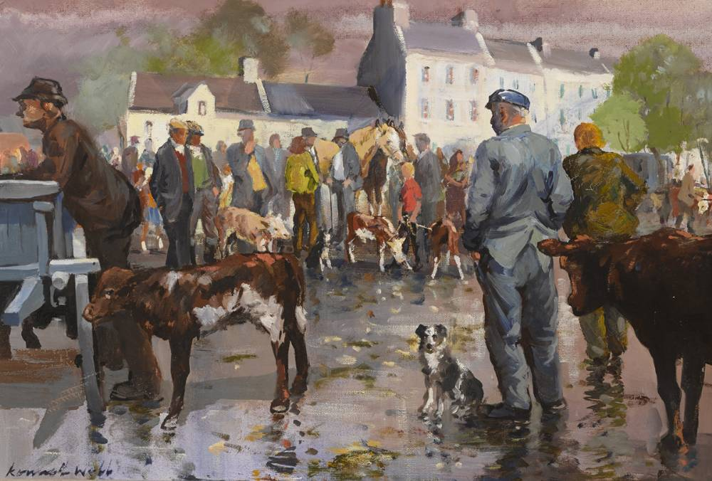 MARKET DAY, CLIFDEN, COUNTY GALWAY by Kenneth Webb RWA FRSA RUA (b.1927) at Whyte's Auctions