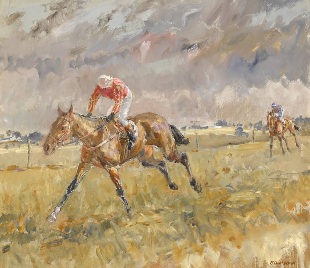 STRIDING TO THE FINISH, POINT TO POINT by Basil Blackshaw HRHA RUA (1932-2016) at Whyte's Auctions