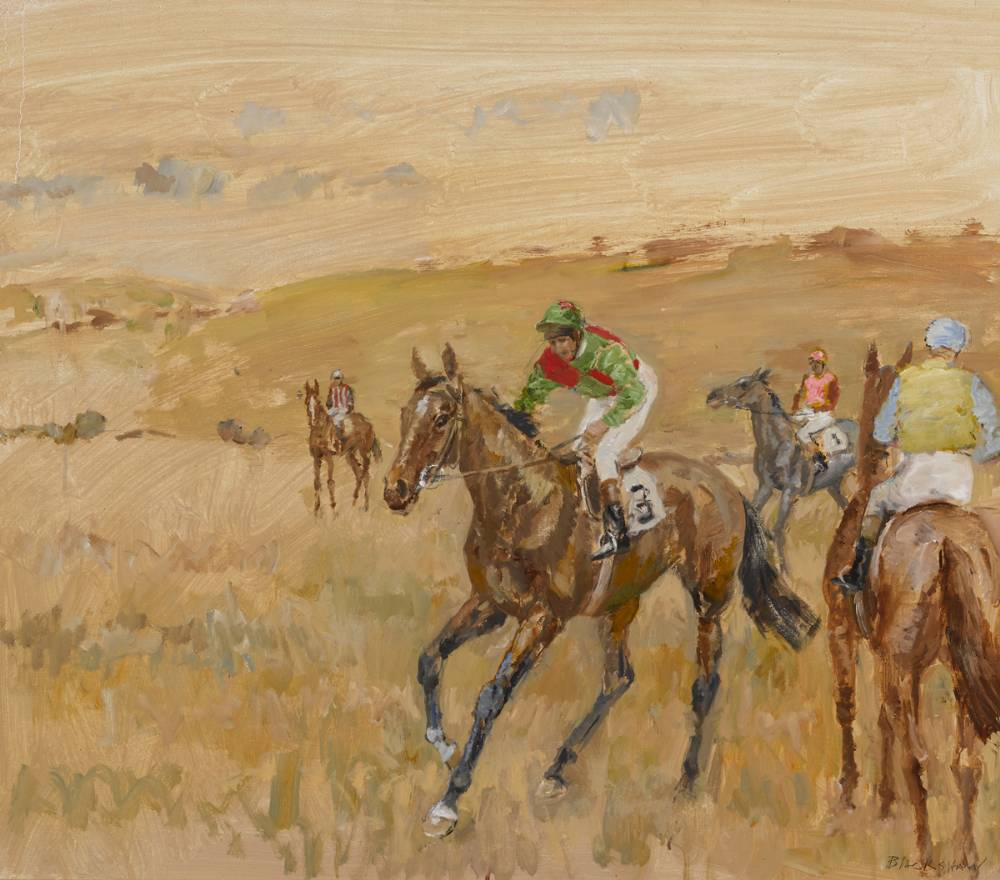HORSES AT THE START, POINT TO POINT by Basil Blackshaw HRHA RUA (1932-2016) HRHA RUA (1932-2016) at Whyte's Auctions