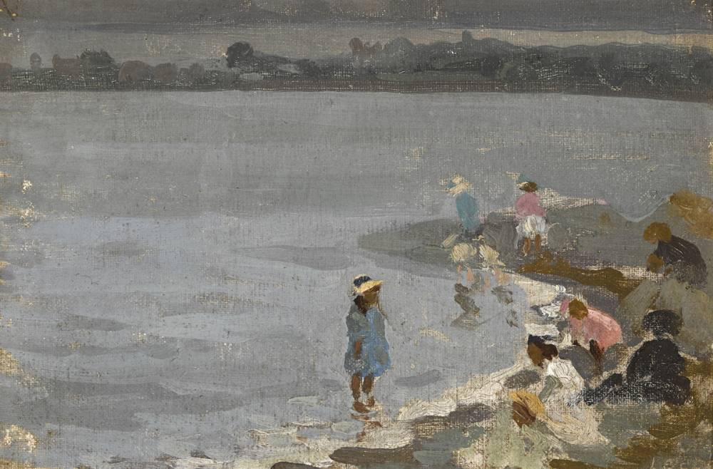 PLAYING BY THE SHORE by William John Leech sold for �9,000 at Whyte's Auctions