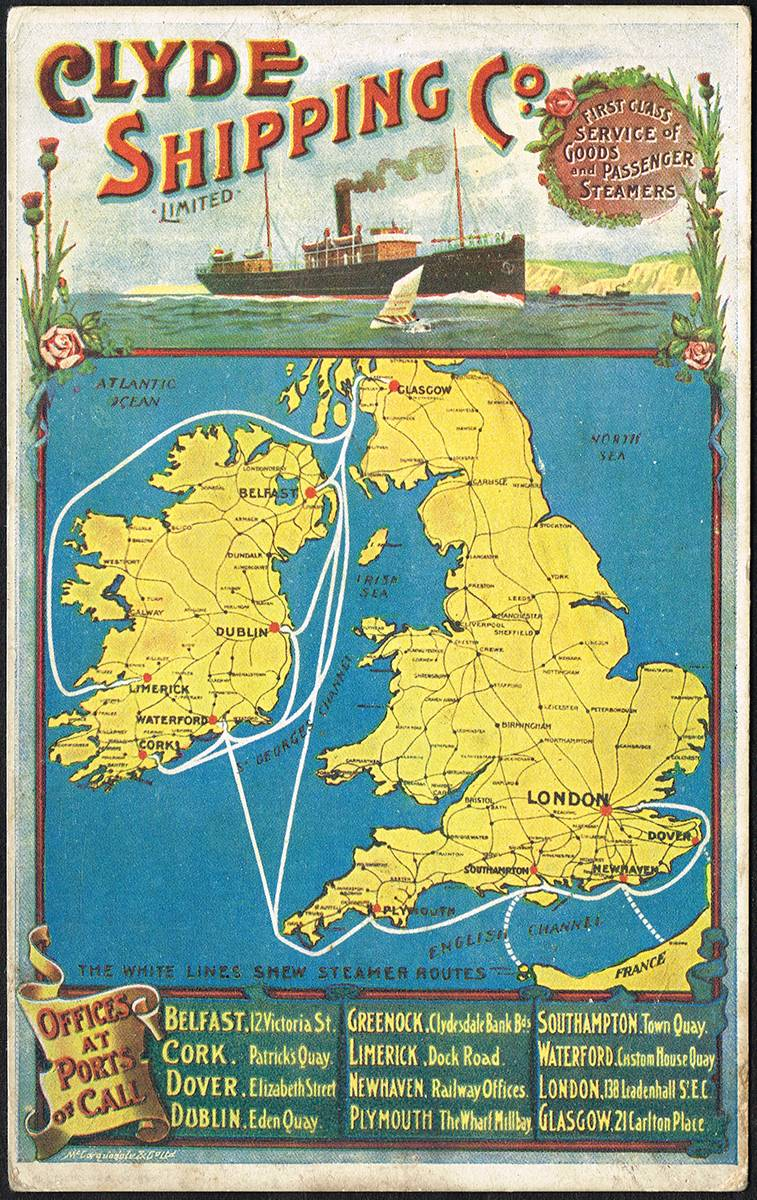 Postcards  Irish Advertising, travel by rail and sea  (12) at