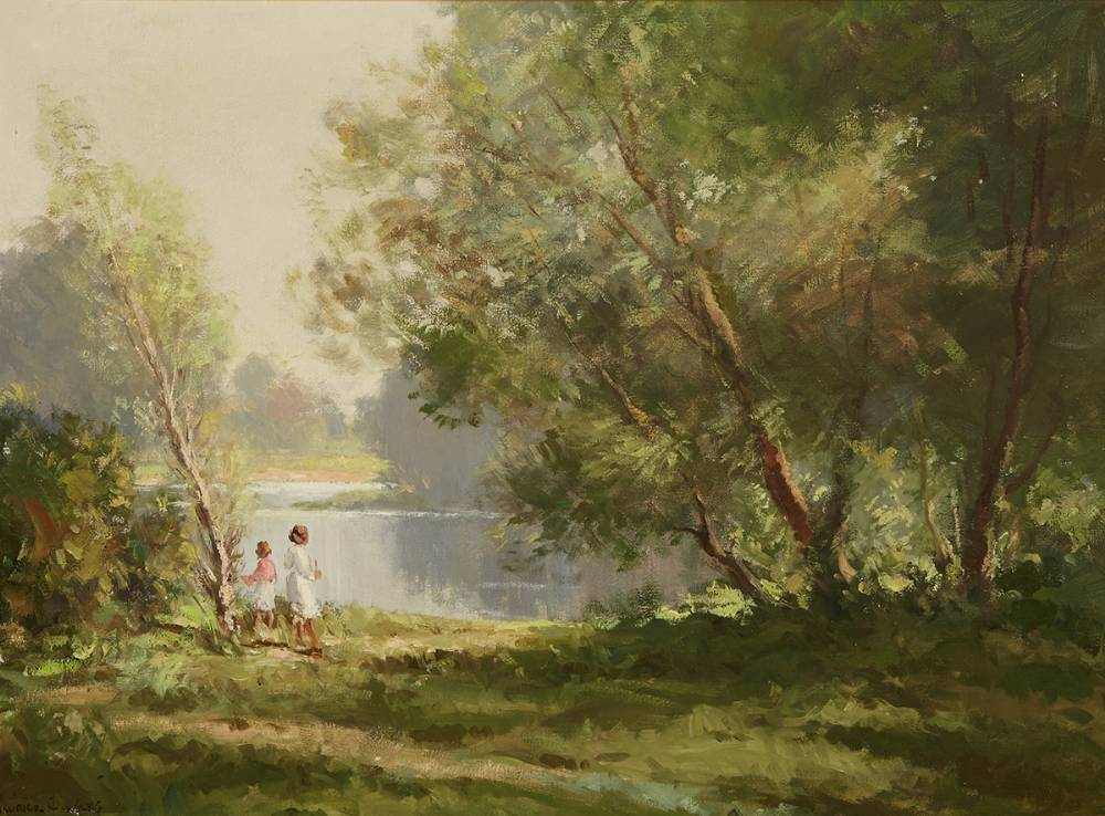 PASTORAL [CHILDREN ON THE RIVER LAGAN, COUNTY ANTRIM] by Maurice Canning Wilks RUA ARHA (1910-1984) at Whyte's Auctions