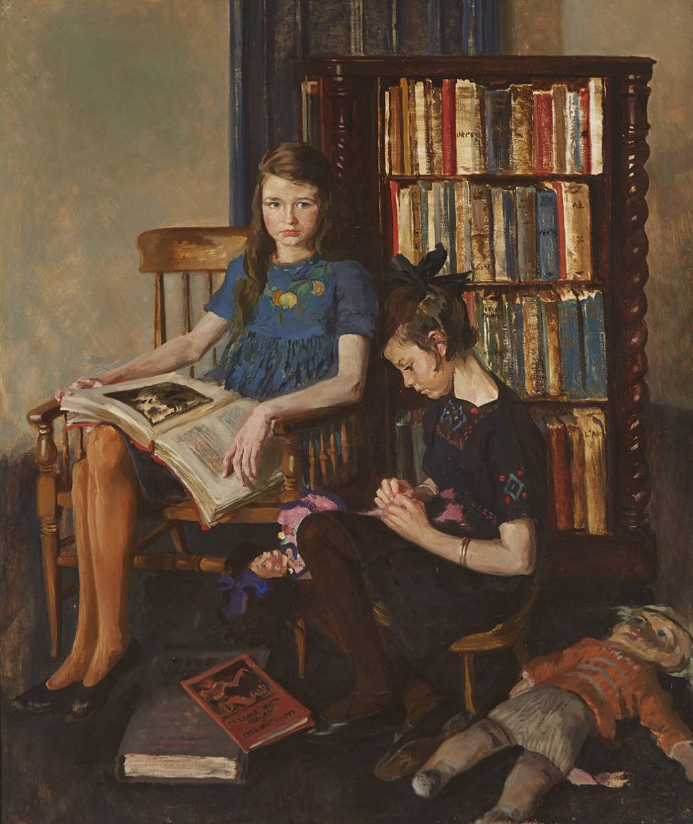 DOUBLE PORTRAIT OF TWO GIRLS by Margaret Clarke (n�e Crilley) RHA (1888-1961) at Whyte's Auctions