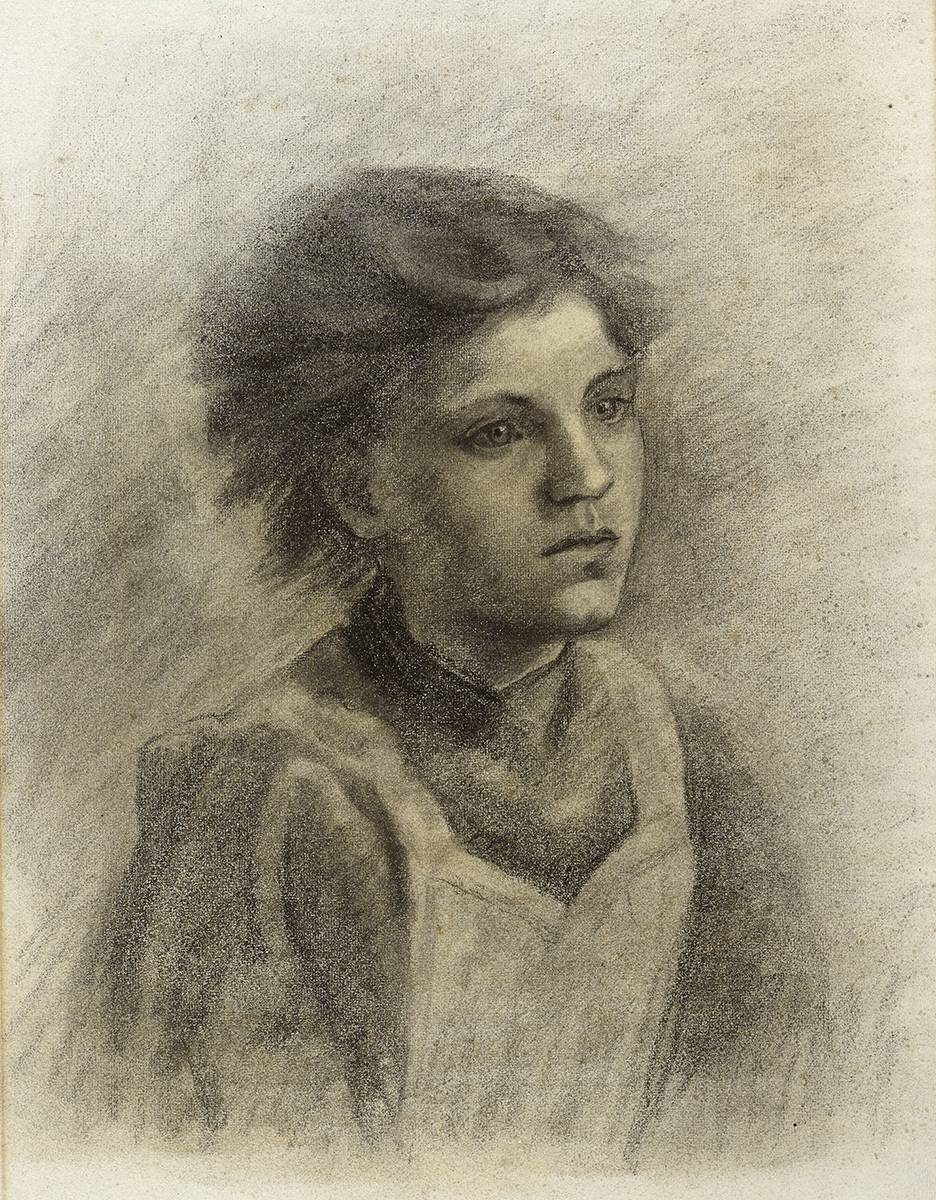 A YOUNG SERVANT GIRL IN A PINAFORE by Constance Gore-Booth, Countess Markievicz (1868-1927) at Whyte's Auctions