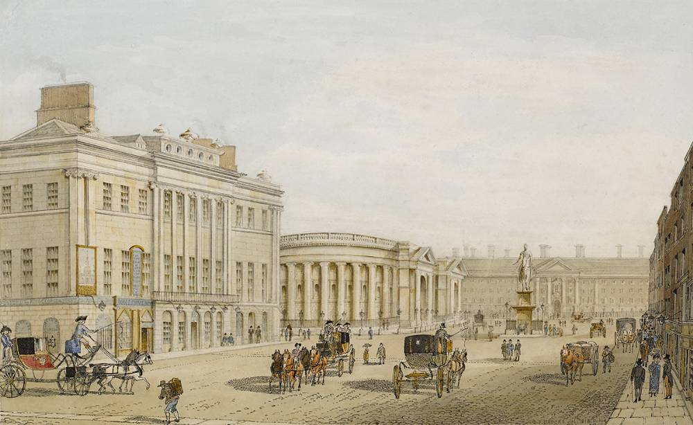 VIEW OF COLLEGE GREEN AND TRINITY COLLEGE, DUBLIN 1818 by Samuel