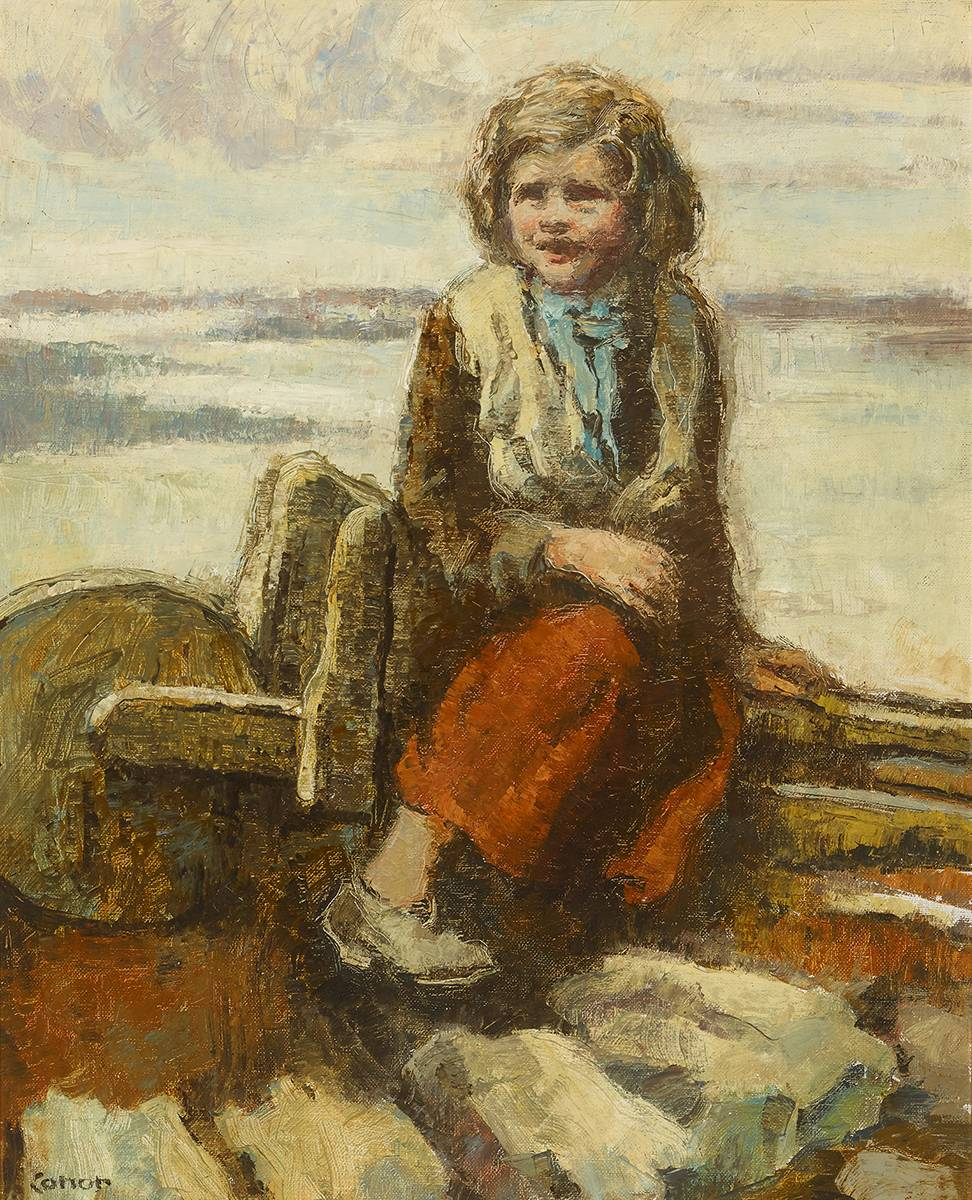GIRL ON A BARROW by William Conor OBE RHA RUA ROI (1881-1968) at Whyte's Auctions