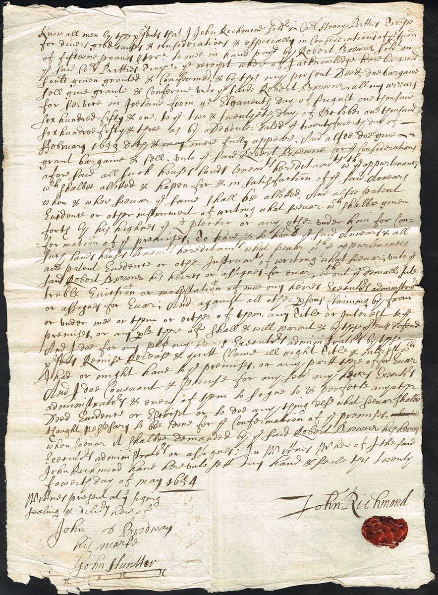 1654 A soldier in Cromwell's army, contract of sale of his land grant. at Whyte's Auctions