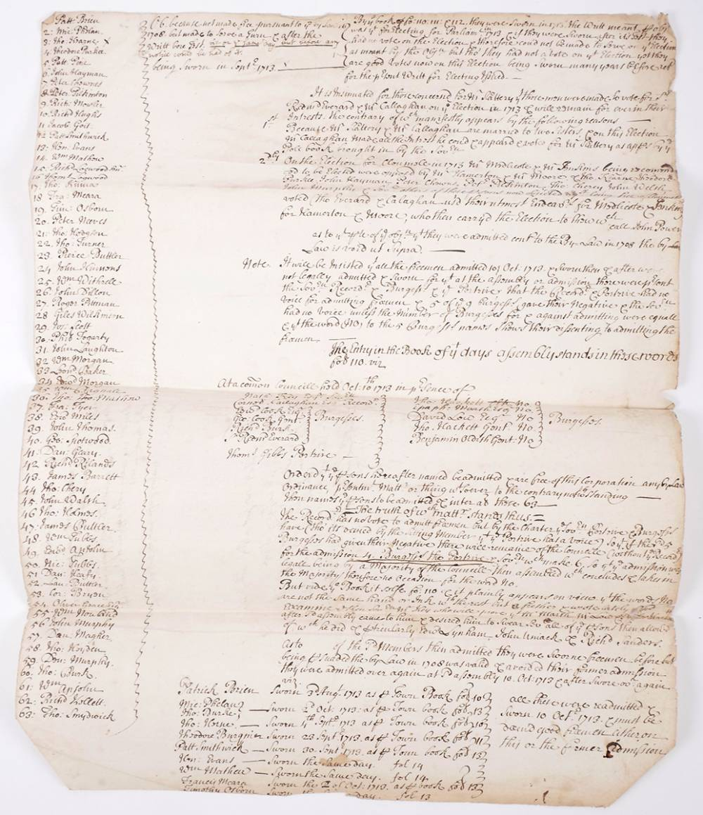 1713 List of electorate of borough of Clonmel. at Whyte's Auctions