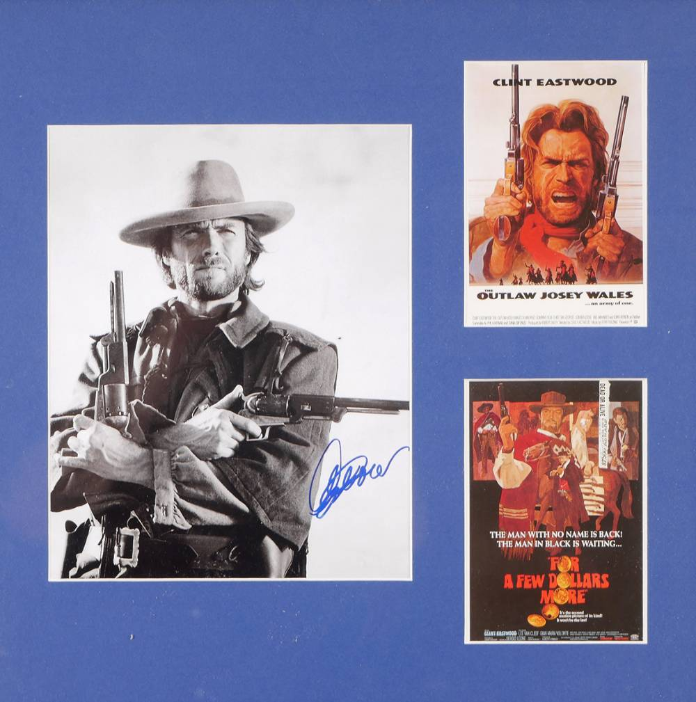 Clint Eastwood signed publicity photograph and two cinema posters