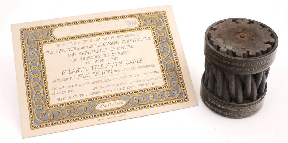 1865 Transatlantic telegraph cable  at Whyte's Auctions