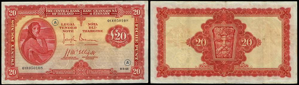Central Bank of Ireland, 'Lady Lavery', War Code Twenty Pounds, 8-3-43. at Whyte's Auctions