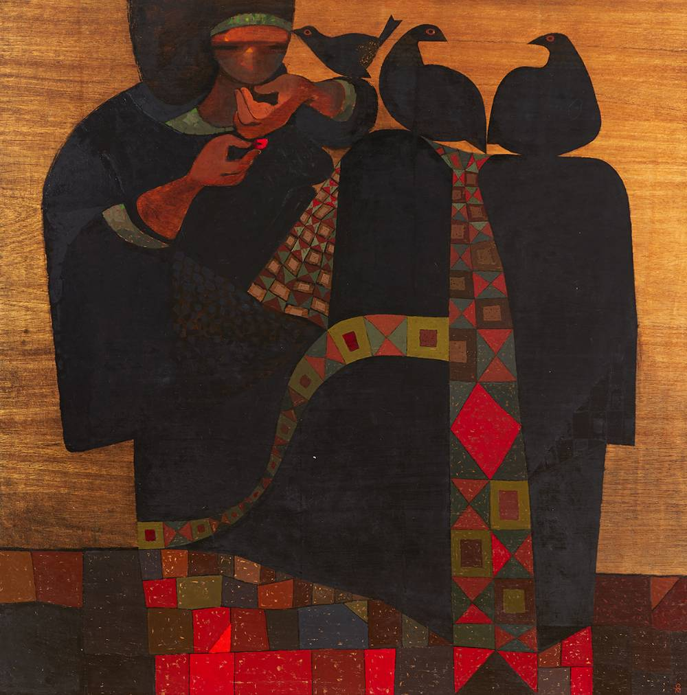 WOMAN WITH BIRDS, 1981 by Colin Middleton MBE RHA RUA (1910-1983) MBE RHA RUA (1910-1983) at Whyte's Auctions