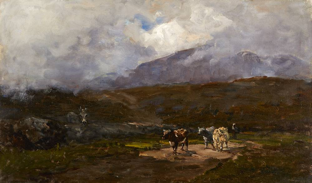 HERDSMAN AND COWS ON A COUNTRY ROAD, GLENMALURE, COUNTY WICKLOW, c. 1880 by Nathaniel Hone RHA (1831-1917) RHA (1831-1917) at Whyte's Auctions