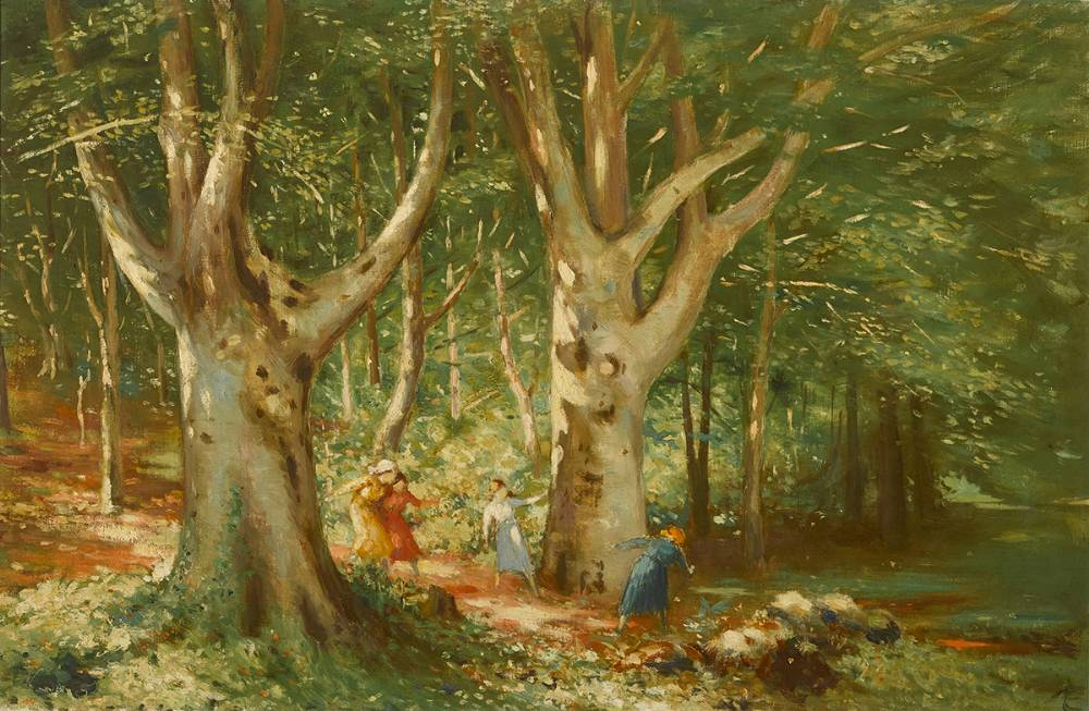 CHILDREN PLAYING IN WOODLAND GLADE by George Russell ('�') (1867-1935) at Whyte's Auctions