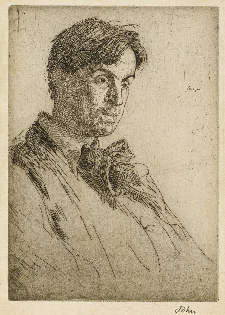 PORTRAIT OF WILLIAM BUTLER YEATS, FOURTH STATE, 1907 by Augustus Edwin John RA (1878-1961) at Whyte's Auctions