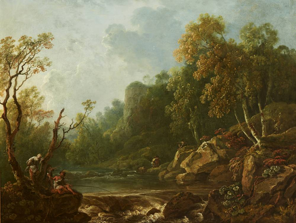 ANGLERS IN THE DARGLE VALLEY, COUNTY WICKLOW by George Barret RA (1732-1784) at Whyte's Auctions