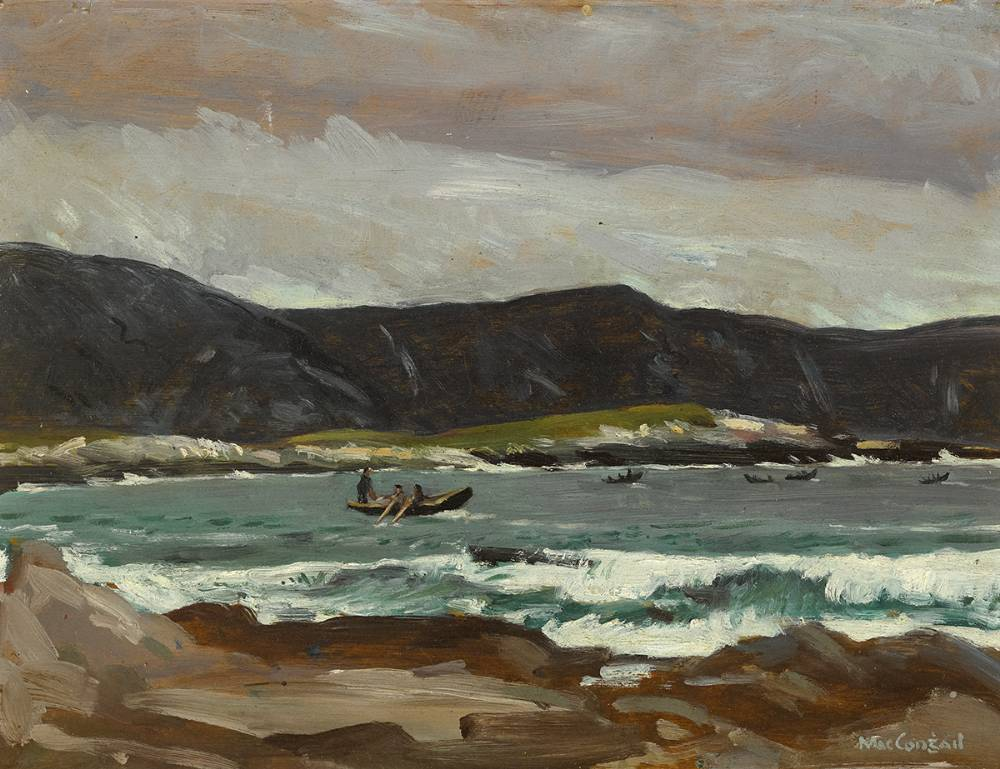CURRACHS FISHING (OFF ACHILL), c. 1936 by Maurice MacGonigal PPRHA HRA HRSA (1900-1979) PPRHA HRA HRSA (1900-1979) at Whyte's Auctions