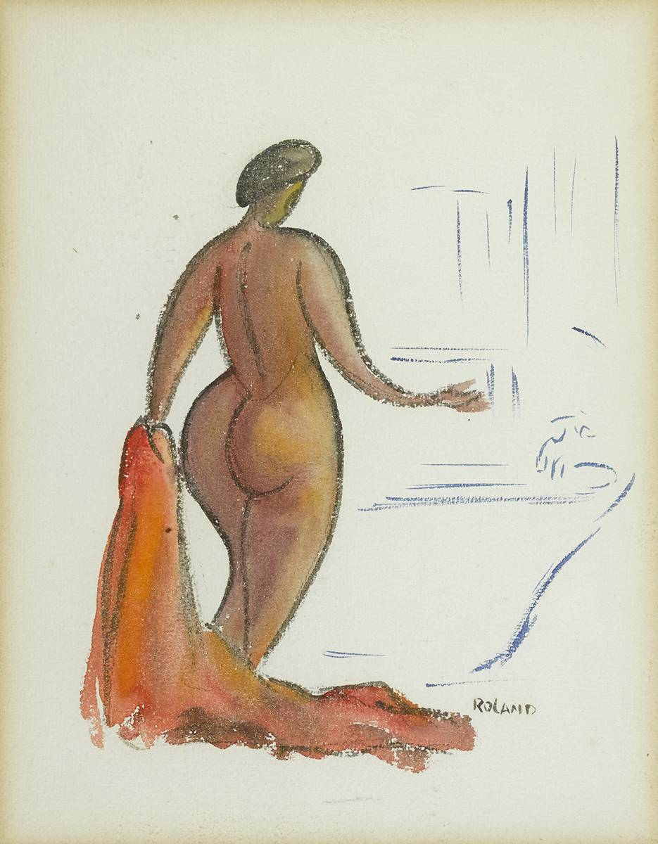 NUDE WITH BATH TOWEL, c. 1944 by Rolli Luke Roland (fl.1940s-1950s) at Whyte's Auctions