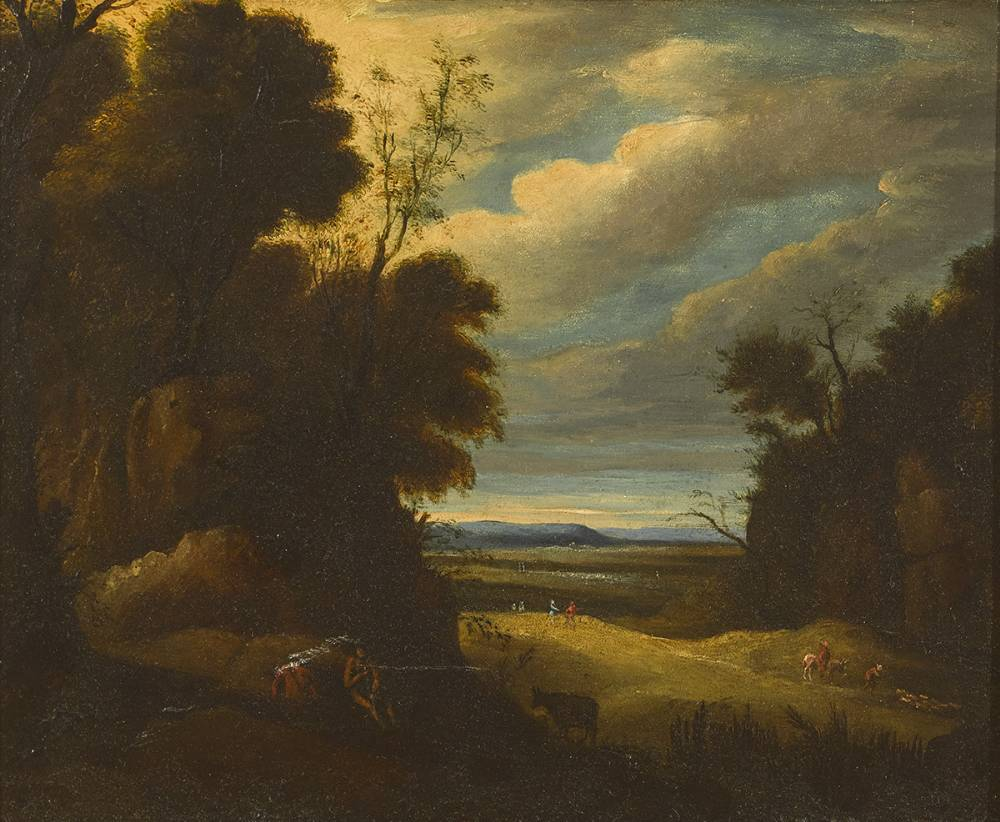 A WOODED LANDSCAPE WITH FIGURES AND ANIMALS at Whyte's Auctions