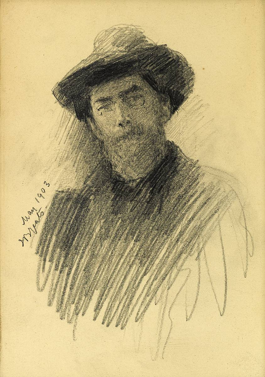 PORTRAIT SKETCH OF GEORGE RUSSELL 'AE', 1903 by John Butler Yeats RHA (1839-1922) at Whyte's Auctions