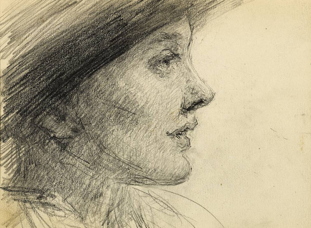 WOMAN IN A HAT by John Butler Yeats RHA (1839-1922) at Whyte's Auctions